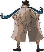 Flasher unbuttoned coat