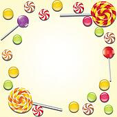 Background with candies frame