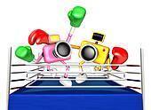 Pink camera and Yellow camera Boxing match. Create 3D Camera Robot Series.