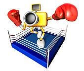Blue Camera Character boxer takes a pose in the ring. Create 3D Camera Robot Series.