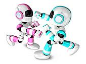 The pink robots and sky blue robot boxing matches. Create 3D Humanoid Robot Series.