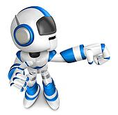 Blue robot character Punching to the right. Create 3D Humanoid Robot Series.