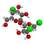 Sucralose artificial sweetener, molecular model