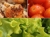 Tomato lettuce and chicken close-up collage