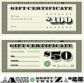 Vector Money Gift Certificate Set