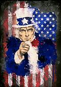 Poster of Uncle Sam and the USA flag