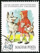 HUNGARY - 1985: shows Little Red Riding Hood and the Wolf, by th