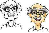 Cartoon senior man
