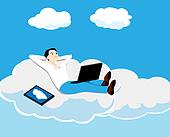 the person on a cloud