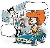 A smart car salesman and a customer