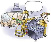 A mechanic offers fresh fish