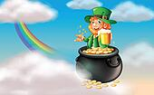 A man inside a pot of gold with a mug of cold beer
