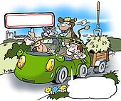 A happy farmer has rented a car