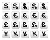 Currency icons set - dollar, euro,