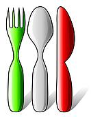 Italian flag made of cutlery