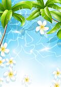 Tropical background with flowers in water