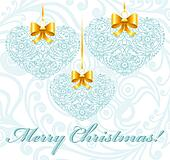 Christmas card with patterned hearts