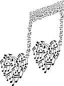 heart shape musical notes