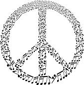 peace sign with musical notes