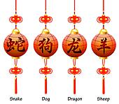 Chinese symbols on the lantern. Signs of the Zodiac. Dog, dragon, snake, sheep.