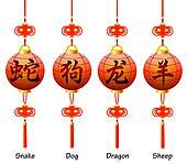 Chinese symbols on the lantern. Signs of the Zodiac. Dog, dragon, snake, sheep.