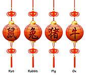 Chinese symbols on the lantern. Signs of the Zodiac. Rat, rabbit, ox, pig.