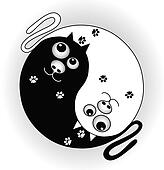 symbol ying yang with cats