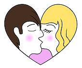 Kissing a boy and a girl in the form of heart