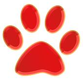 3d red pawprint
