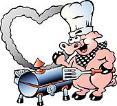 An Chef Pig making making BBQ