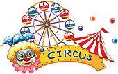 A clown beside a circus signboard