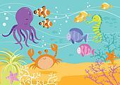 Sea Creatures Underwater Scene