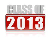 class of 2013 in 3d letters and block