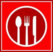 red restaurant sign with utensil