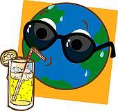 Planet Earth Drinking Lemonade_stock
