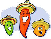 Mexican Peppers Cartoon