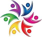 Swooshes figures help teamwork logo