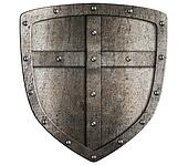crusader metal shield illustration isolated on white