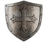 Old crusader metal shield illustration isolated on white