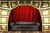 red fabric curtain and sofa on golden stage