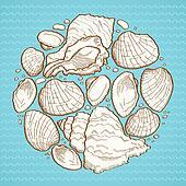 Seashell round design element