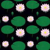 Seamless pattern - pond with lilies