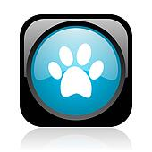 animal footprint black and blue square web glossy icon