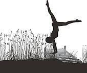 Gymnast on the pier