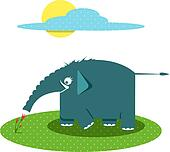 Funny Graphic Elephant Smelling Flowers