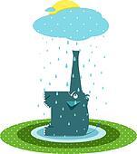 Funny Graphic Elephant and Rain