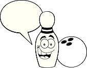 Cartoon bowling pin with a caption