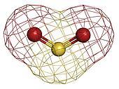 Sulfur dioxide (sulphur dioxide, SO2) gas, molecular model.