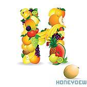 Vector Alphabet From Fruit. Letter H
