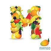 Vector Alphabet From Fruit. Letter M
